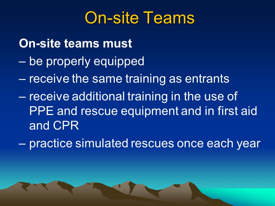 May be provided by – on-site employees – off-site services Rescue Services