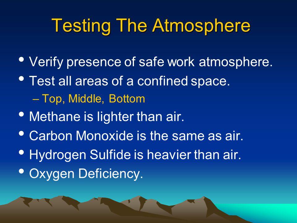 Confined space testing FOUR-GAS DETECTOR Oxygen content Flammability / explosion potential Carbon monoxide Hydrogen sulfide CRITICAL ISSUES Training Procedures Calibration
