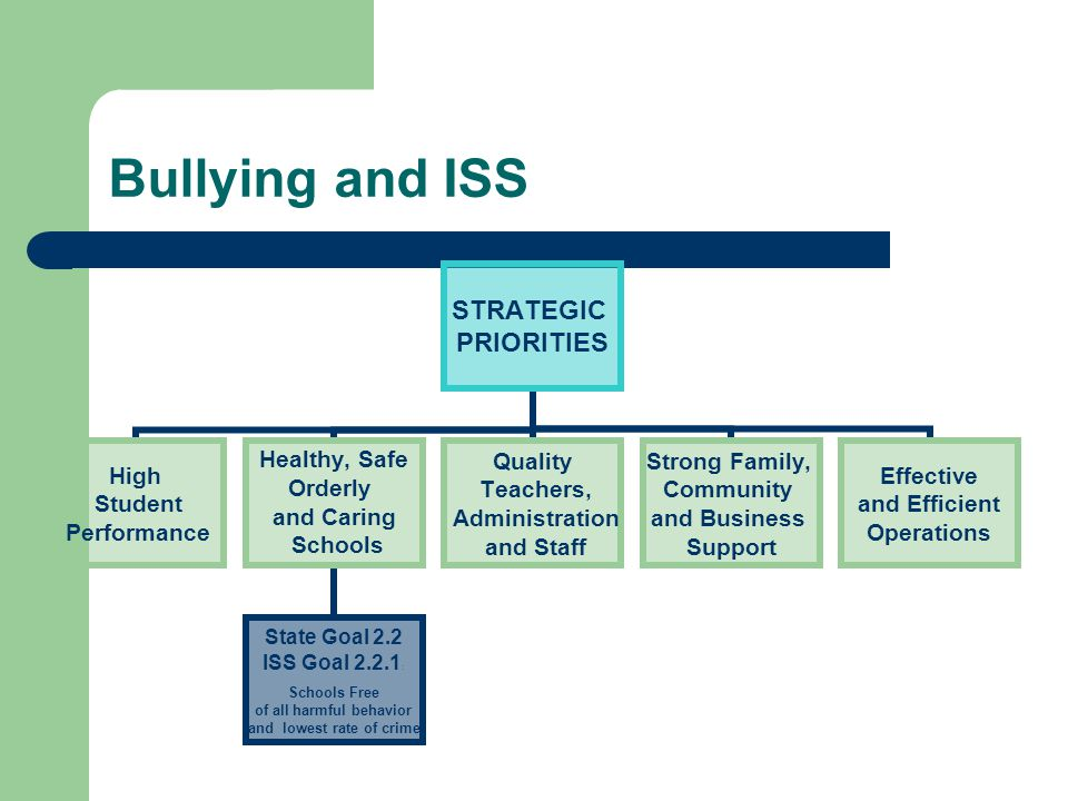 Bullying and ISS STRATEGIC PRIORITIES High Student Performance Healthy, Safe Orderly and Caring Schools State Goal 2.2 ISS Goal 2.2.1: Schools Free of