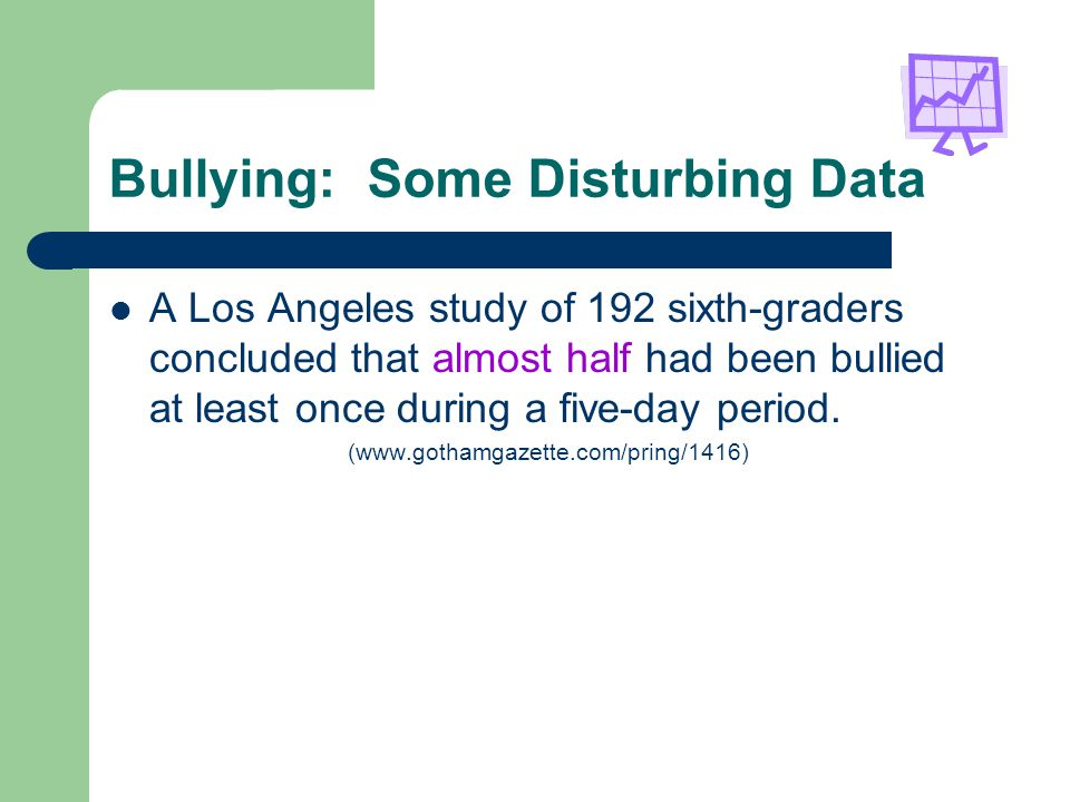 Bullying: Some Disturbing Data A Los Angeles study of 192 sixth-graders concluded that almost half had been bullied at least once during a five-day period.