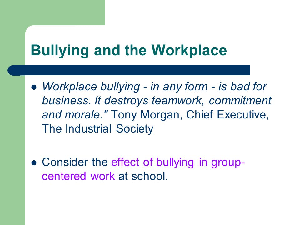 Bullying and the Workplace Workplace bullying - in any form - is bad for business. It destroys teamwork, commitment and morale.