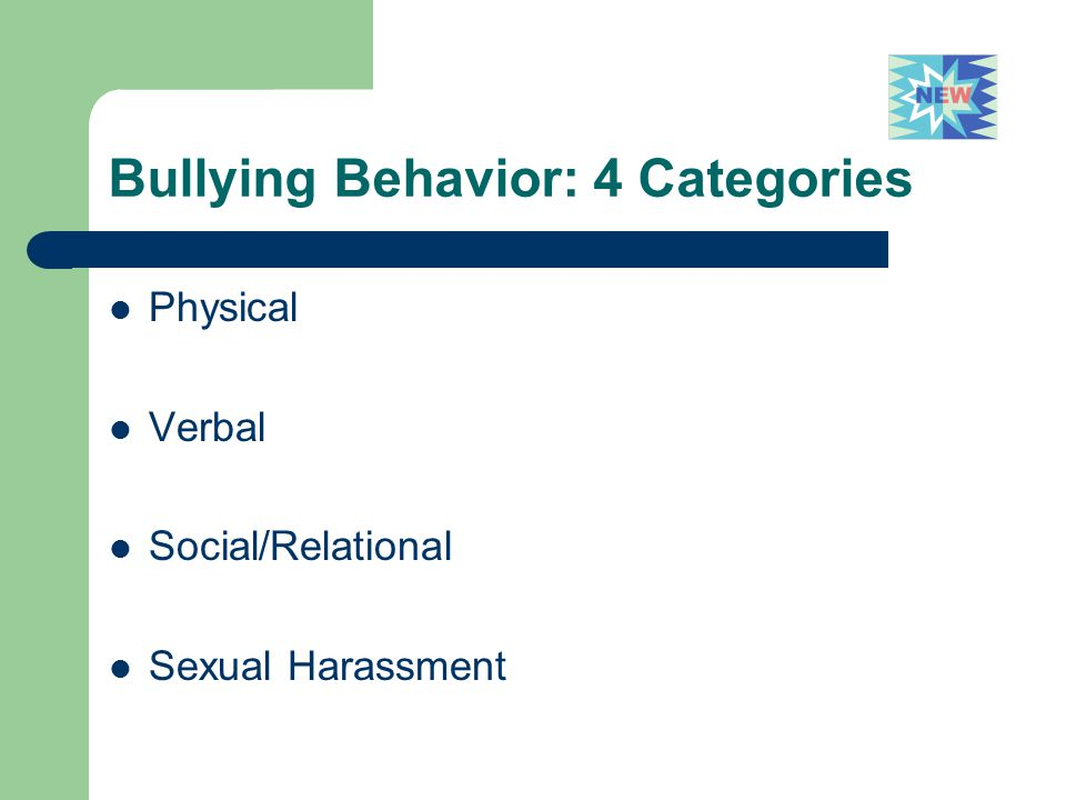 Bullying Behavior: 4 Categories Physical Verbal Social/Relational Sexual Harassment