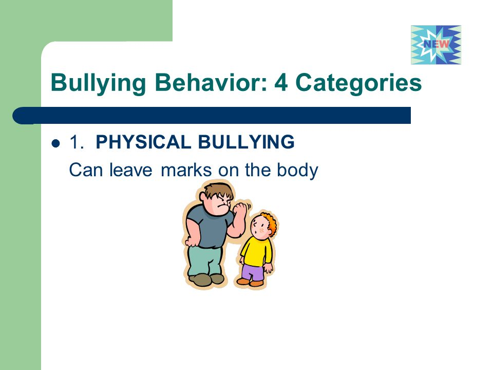 Bullying Behavior: 4 Categories 1. PHYSICAL BULLYING Can leave marks on the body