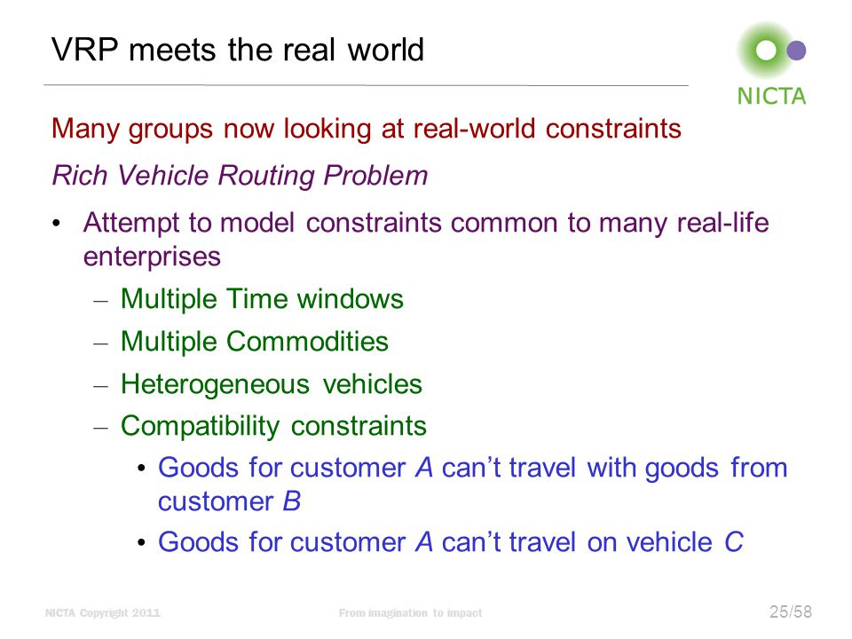 NICTA Copyright 2011From imagination to impact 25/58 VRP meets the real world Many groups now looking at real-world constraints Rich Vehicle Routing Problem Attempt to model constraints common to many real-life enterprises – Multiple Time windows – Multiple Commodities – Heterogeneous vehicles – Compatibility constraints Goods for customer A can't travel with goods from customer B Goods for customer A can't travel on vehicle C