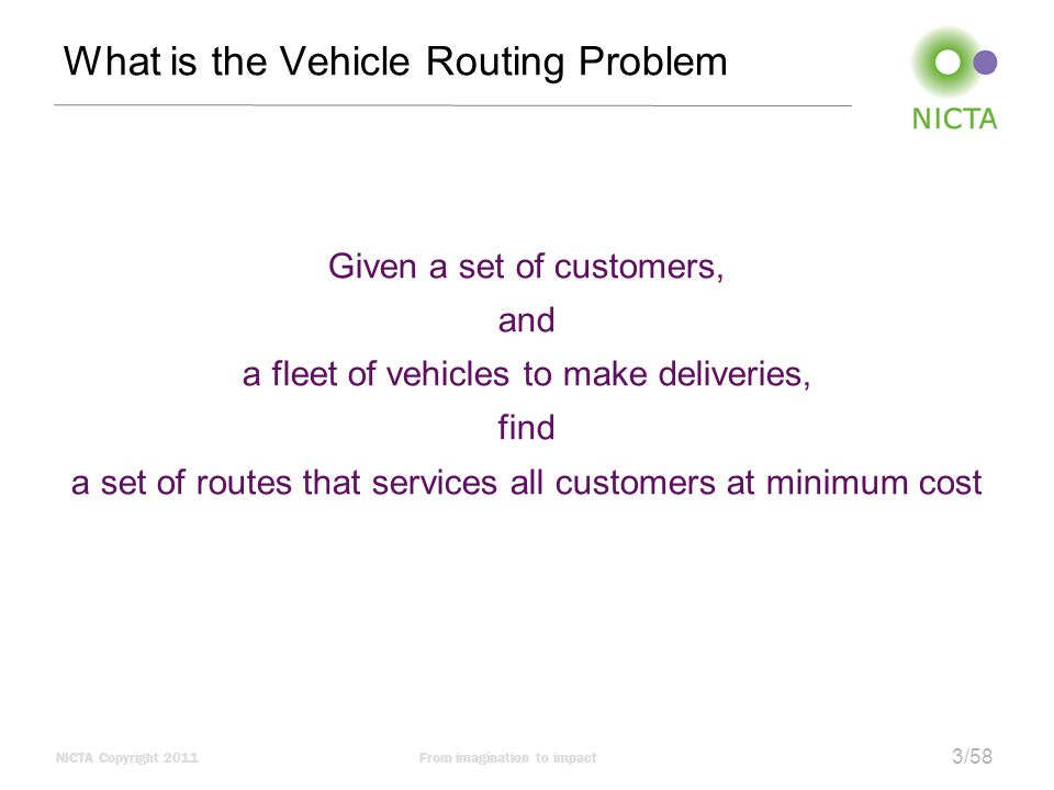 NICTA Copyright 2011From imagination to impact 4/58 Vehicle Routing Problem