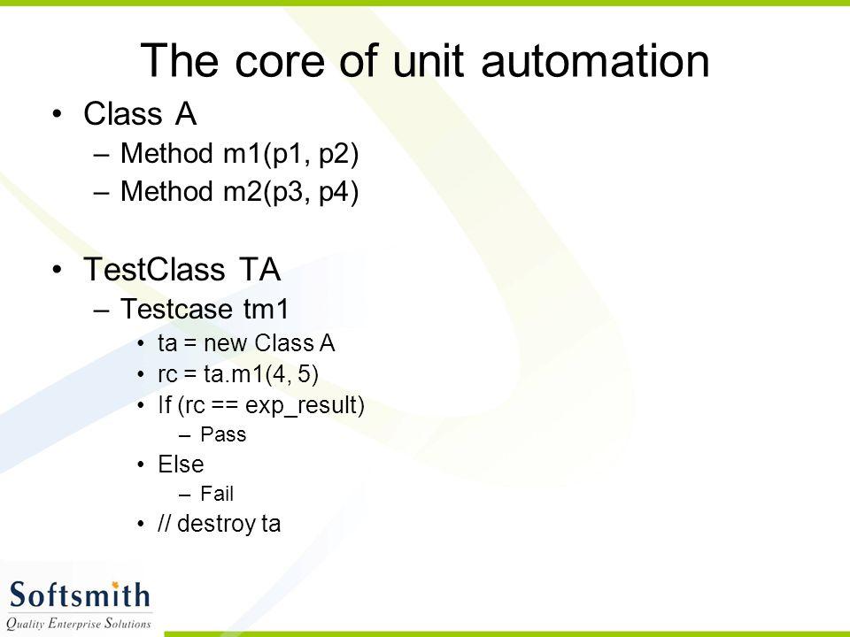 The core of unit automation Class A –Method m1(p1, p2) –Method m2(p3, p4) TestClass TA –Testcase tm1 ta = new Class A rc = ta.m1(4, 5) If (rc == exp_result) –Pass Else –Fail // destroy ta