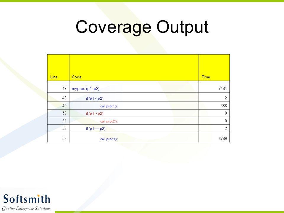 Coverage Output LineCodeTime 47myproc (p1, p2)7181 48 if (p1 < p2) 2 49 call proc1(); 388 50 if (p1 > p2) 0 51 call proc2(); 0 52 if (p1 == p2) 2 53 call proc3(); 6789