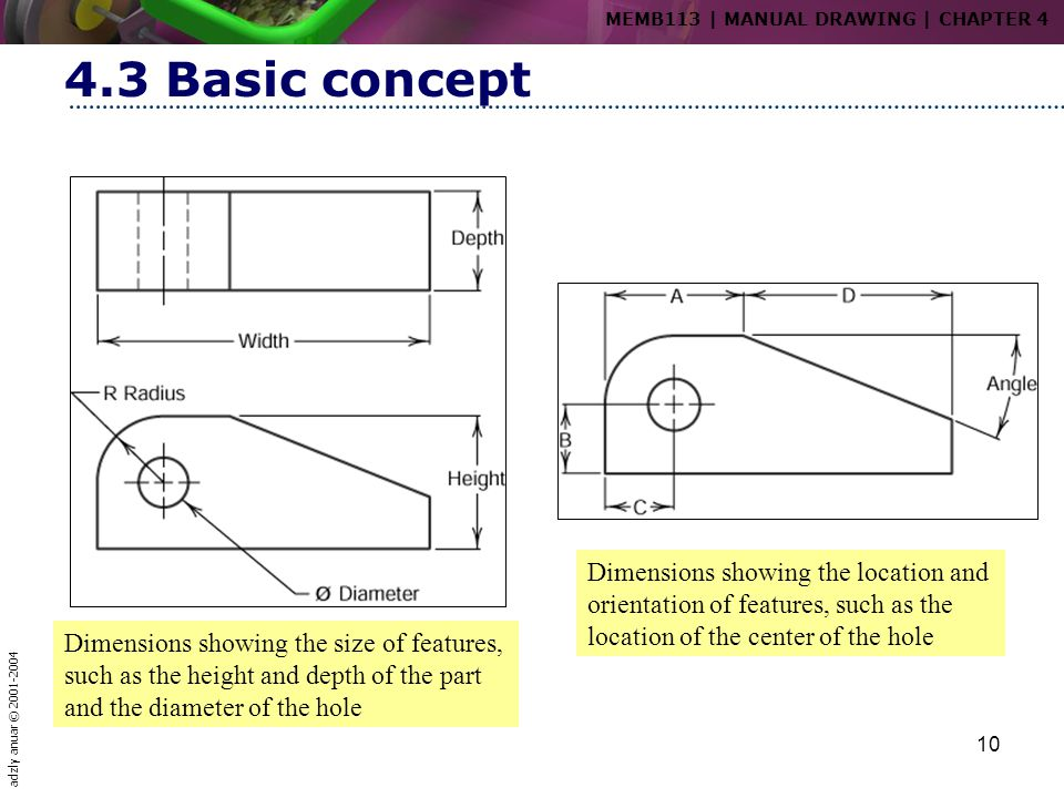 adzly anuar © 2001-2004 10 4.3 Basic concept Dimensions showing the size of features, such as the height and depth of the part and the diameter of the