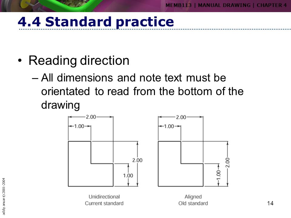 adzly anuar © 2001-2004 14 4.4 Standard practice Reading direction –All dimensions and note text must be orientated to read from the bottom of the dra