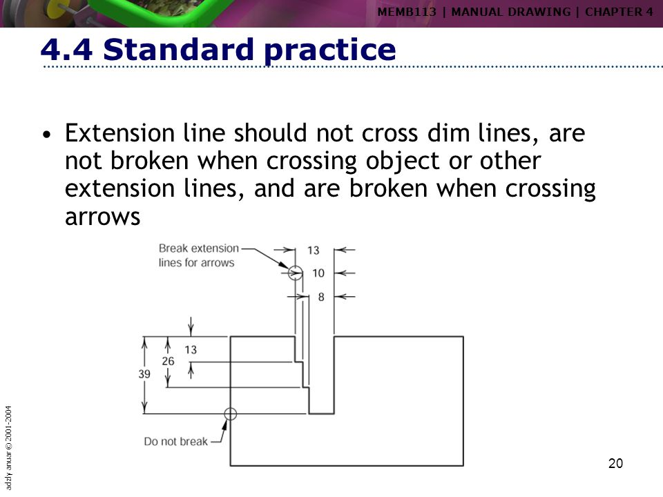 adzly anuar © 2001-2004 20 4.4 Standard practice Extension line should not cross dim lines, are not broken when crossing object or other extension lin