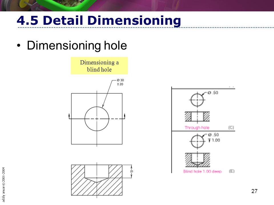 adzly anuar © 2001-2004 27 4.5 Detail Dimensioning Dimensioning hole Dimensioning a blind hole