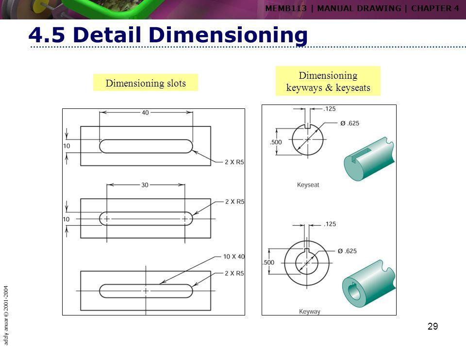 adzly anuar © 2001-2004 29 4.5 Detail Dimensioning Dimensioning slots Dimensioning keyways & keyseats MEMB113   MANUAL DRAWING   CHAPTER 4