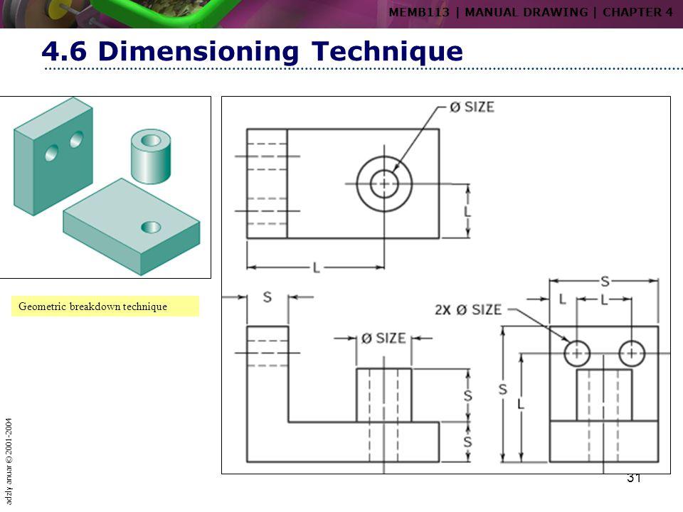 adzly anuar © 2001-2004 31 4.6 Dimensioning Technique Geometric breakdown technique MEMB113   MANUAL DRAWING   CHAPTER 4