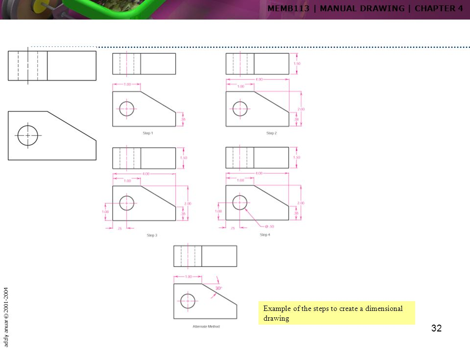 adzly anuar © 2001-2004 32 Example of the steps to create a dimensional drawing MEMB113   MANUAL DRAWING   CHAPTER 4