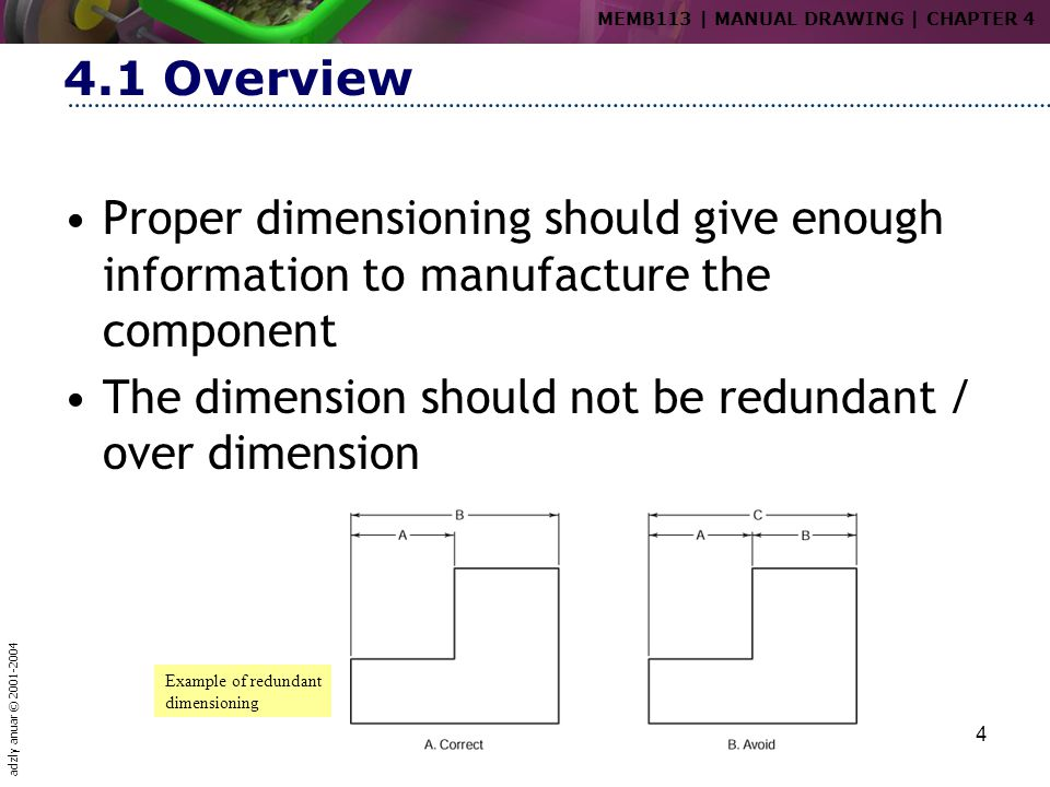 adzly anuar © 2001-2004 4 4.1 Overview Proper dimensioning should give enough information to manufacture the component The dimension should not be red