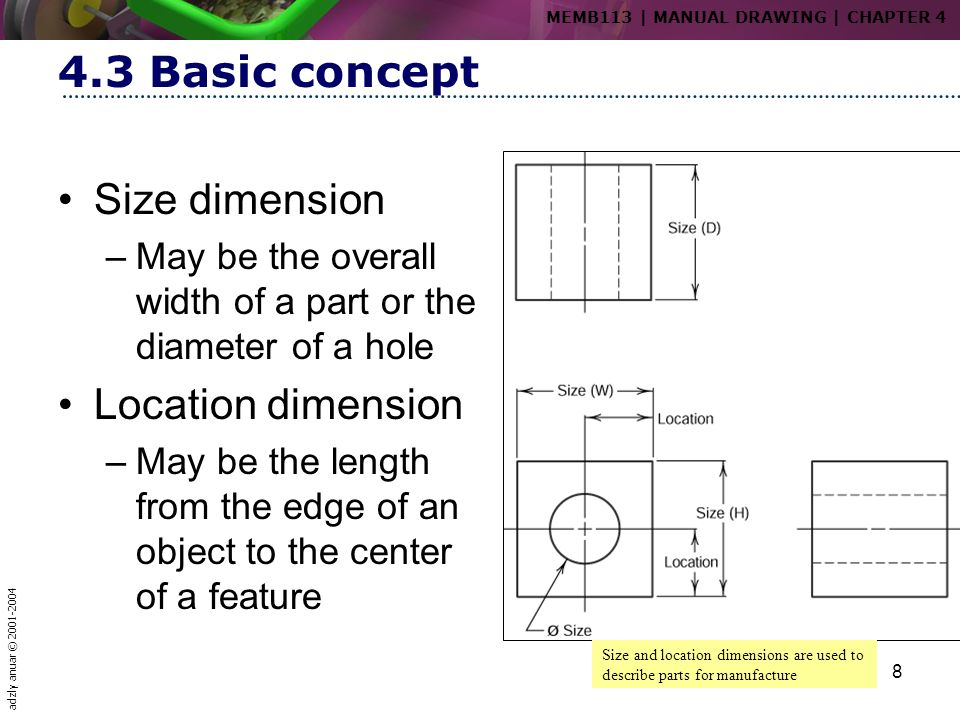 adzly anuar © 2001-2004 8 4.3 Basic concept Size dimension –May be the overall width of a part or the diameter of a hole Location dimension –May be th