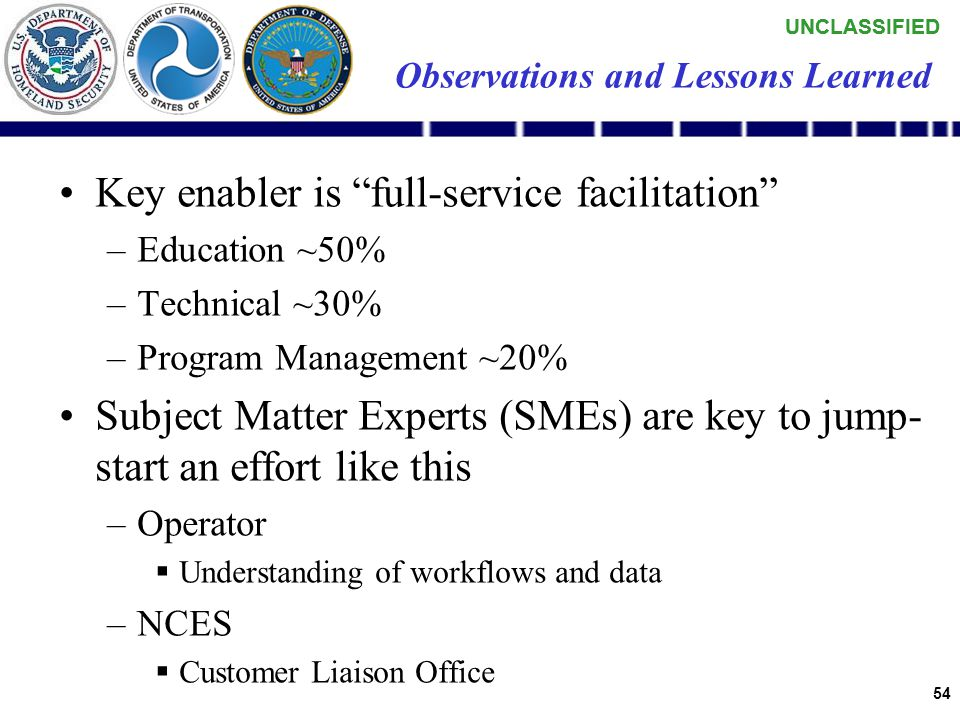 UNCLASSIFIED 53 Observations and Lessons Learned Defining smaller increments with clear milestones is imperative –Days and weeks, not months and years