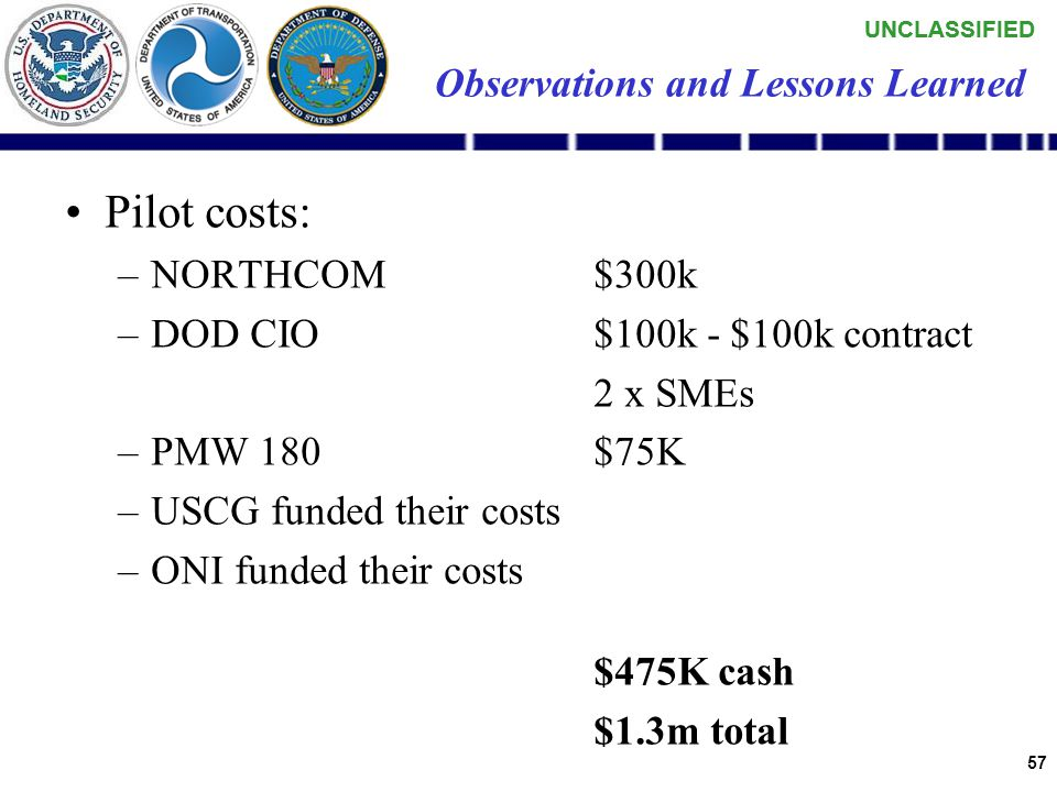 """UNCLASSIFIED 56 Observations and Lessons Learned NCES is """"pre-Milestone B"""" –We are early adopters, as defined in the NCES Early Capability Baseline (E"""