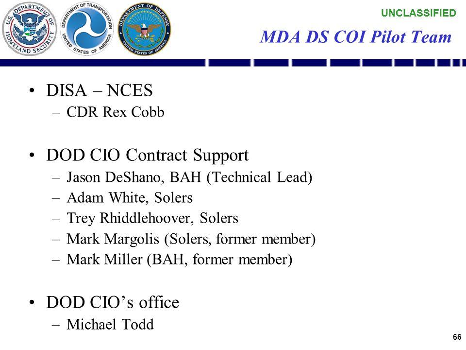 UNCLASSIFIED 65 MDA DS COI Pilot Team USCG RDC & OSC –Jay Spalding, Steve Munson, Kathy Shea, Stan Kim, Bob DeYoung USN, PMW180 and SPAWAR-SSC San Die
