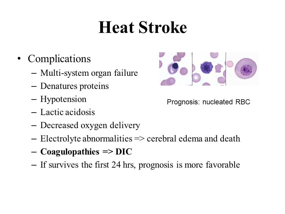 Heat Stroke Complications – Multi-system organ failure – Denatures proteins – Hypotension – Lactic acidosis – Decreased oxygen delivery – Electrolyte abnormalities => cerebral edema and death – Coagulopathies => DIC – If survives the first 24 hrs, prognosis is more favorable Prognosis: nucleated RBC