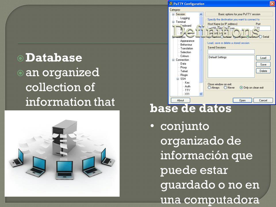  Database  an organized collection of information that may or may not be stored in a computer base de datos conjunto organizado de información que puede estar guardado o no en una computadora
