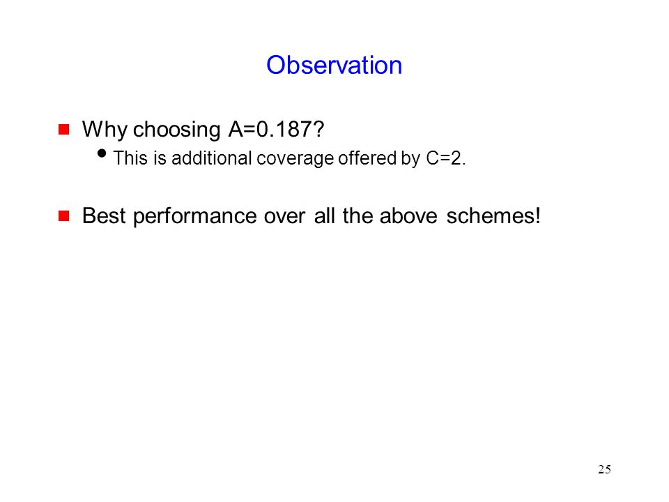 25 Observation  Why choosing A=0.187.  This is additional coverage offered by C=2.