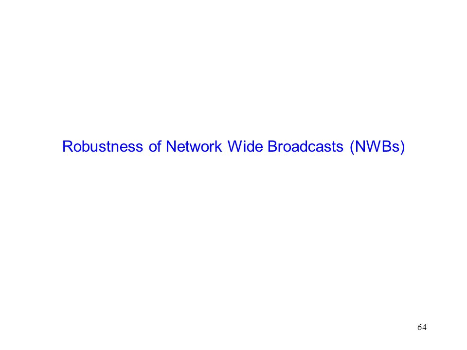 64 Robustness of Network Wide Broadcasts (NWBs)