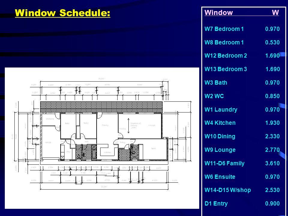 Window Schedule: Window W W7 Bedroom 1 0.970 W8 Bedroom 1 0.530 W12 Bedroom 2 1.690 W13 Bedroom 3 1.690 W3 Bath 0.970 W2 WC 0.850 W1 Laundry 0.970 W4