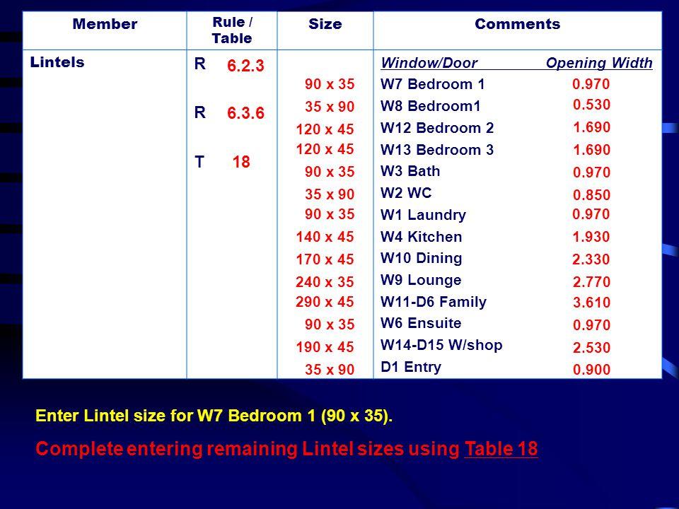 Member Rule / Table SizeComments Lintels RRTRRT Window/Door Opening Width W7 Bedroom 1 W8 Bedroom1 W12 Bedroom 2 W13 Bedroom 3 W3 Bath W2 WC W1 Laundr