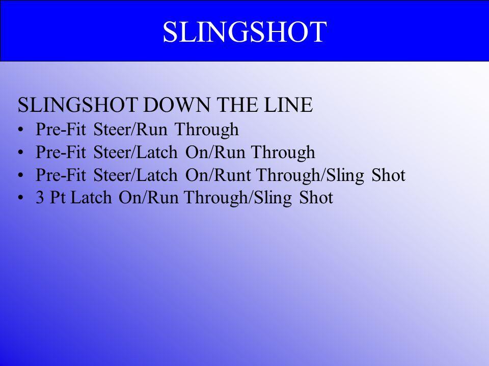 SLINGSHOT DOWN THE LINE Pre-Fit Steer/Run Through Pre-Fit Steer/Latch On/Run Through Pre-Fit Steer/Latch On/Runt Through/Sling Shot 3 Pt Latch On/Run