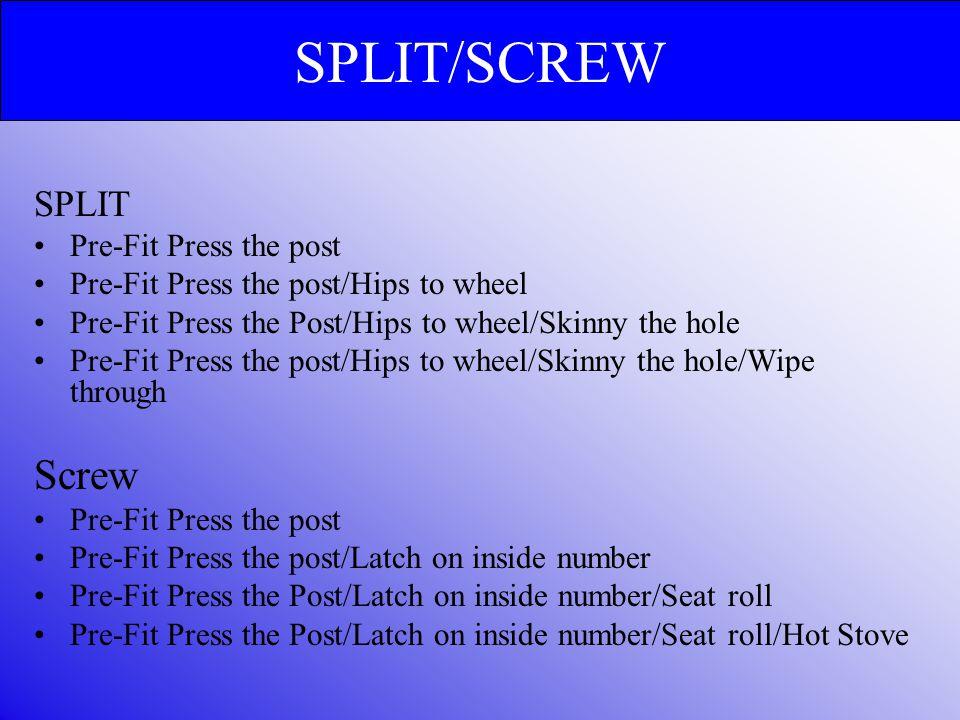 SPLIT Pre-Fit Press the post Pre-Fit Press the post/Hips to wheel Pre-Fit Press the Post/Hips to wheel/Skinny the hole Pre-Fit Press the post/Hips to