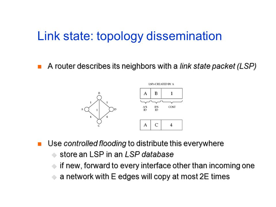 Link state: topology dissemination A router describes its neighbors with a link state packet (LSP) A router describes its neighbors with a link state packet (LSP) Use controlled flooding to distribute this everywhere Use controlled flooding to distribute this everywhere  store an LSP in an LSP database  if new, forward to every interface other than incoming one  a network with E edges will copy at most 2E times
