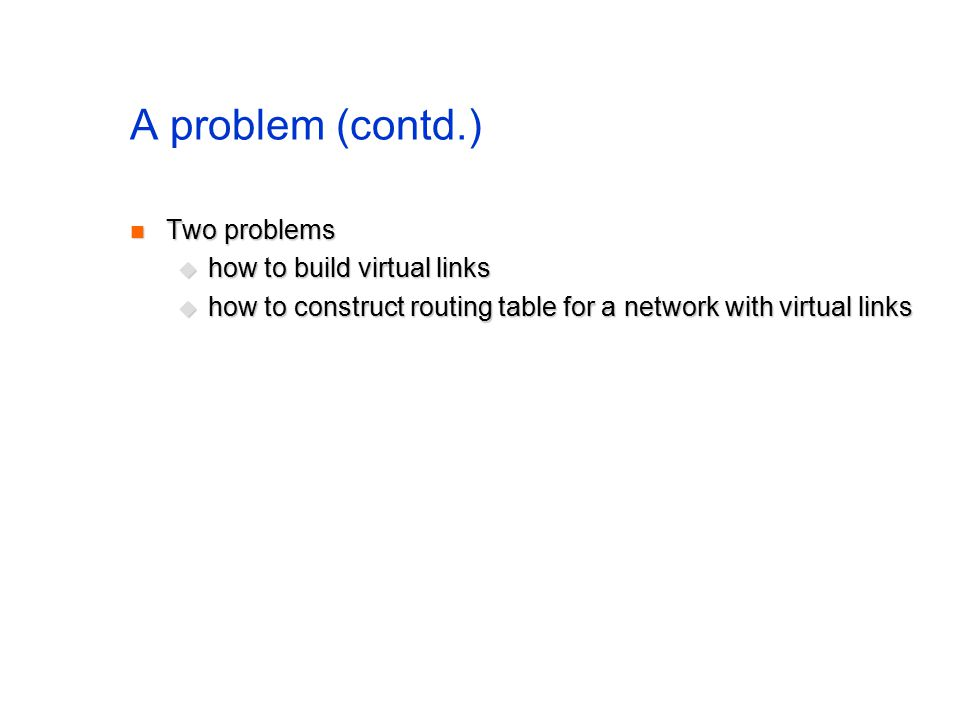 A problem (contd.) Two problems Two problems  how to build virtual links  how to construct routing table for a network with virtual links