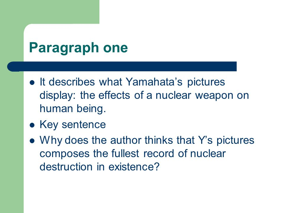 Q&A Because there are few pictures of the destructive consequences of the first atomic bomb.