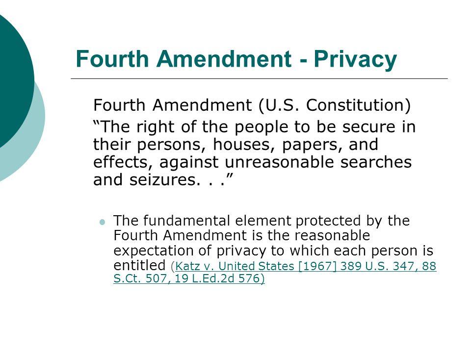 Fourth Amendment - Privacy Fourth Amendment (U.S.