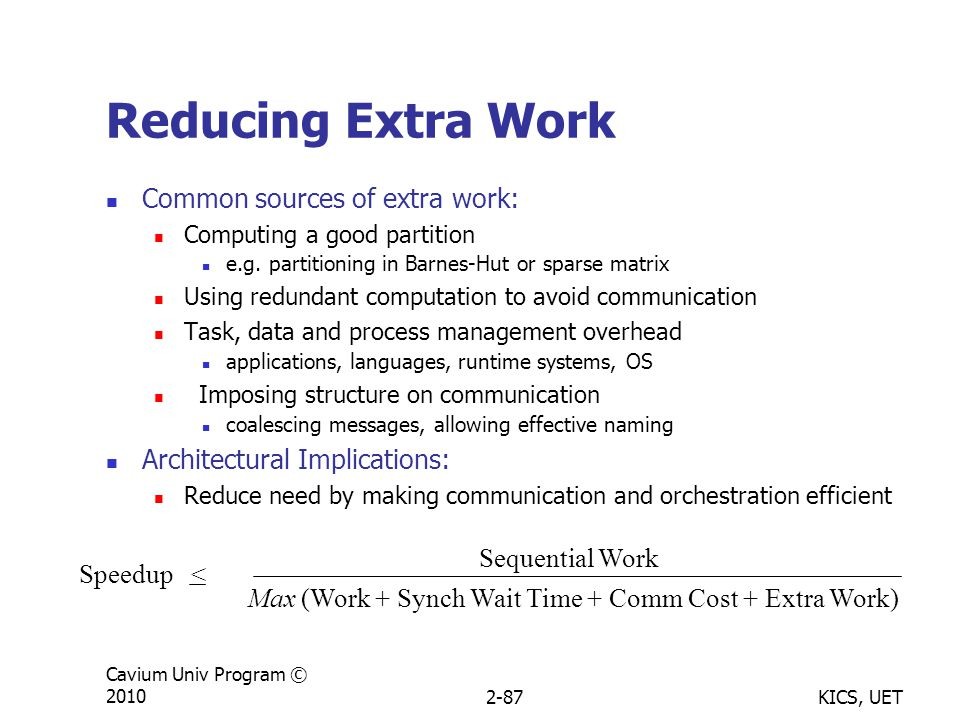 KICS, UET Cavium Univ Program © 20102-87 Reducing Extra Work Common sources of extra work: Computing a good partition e.g.