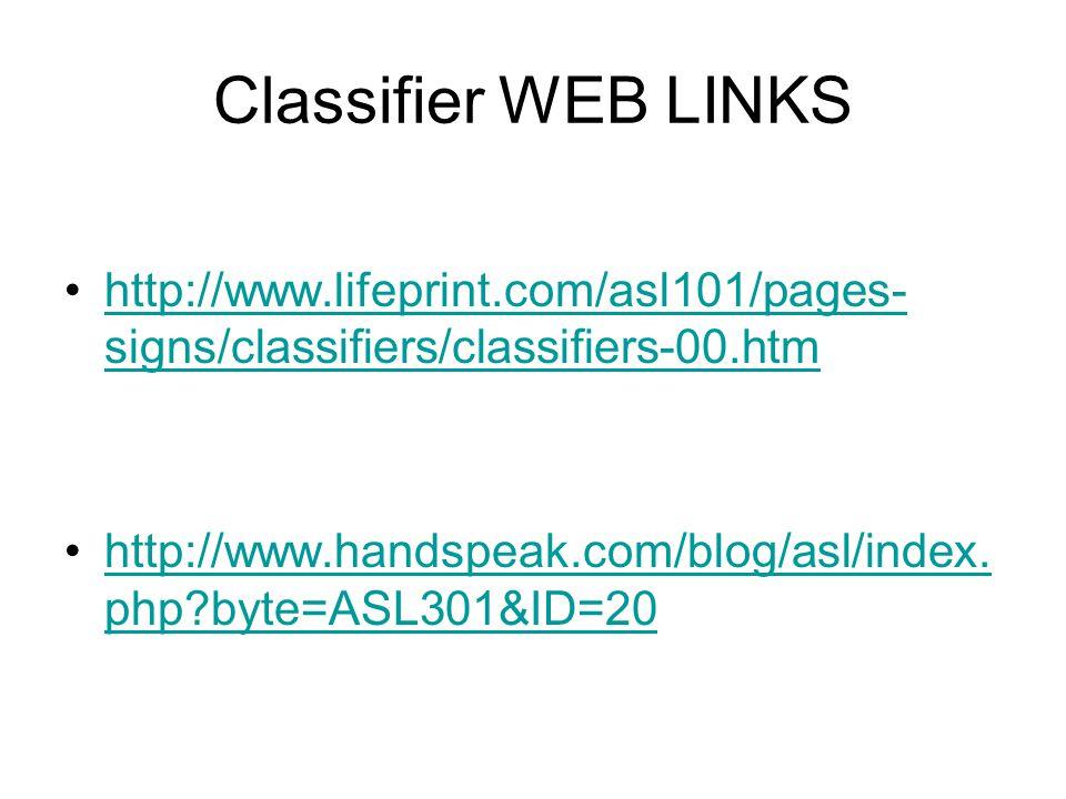 Classifier WEB LINKS http://www.lifeprint.com/asl101/pages- signs/classifiers/classifiers-00.htmhttp://www.lifeprint.com/asl101/pages- signs/classifiers/classifiers-00.htm http://www.handspeak.com/blog/asl/index.