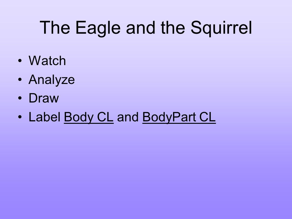 The Eagle and the Squirrel Watch Analyze Draw Label Body CL and BodyPart CL
