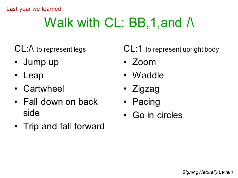 Walk with CL: BB,1,and /\ CL:/\ to represent legs Jump up Leap Cartwheel Fall down on back side Trip and fall forward CL:1 to represent upright body Zoom Waddle Zigzag Pacing Go in circles Signing Naturally Level 1 Last year we learned: