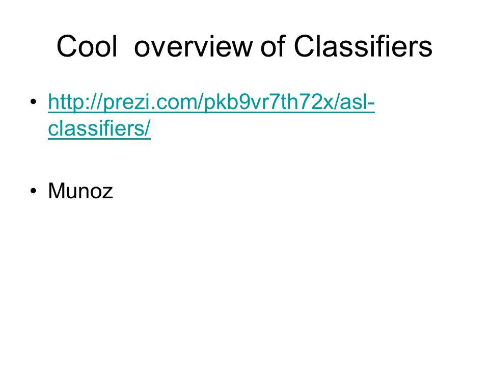 Cool overview of Classifiers http://prezi.com/pkb9vr7th72x/asl- classifiers/http://prezi.com/pkb9vr7th72x/asl- classifiers/ Munoz
