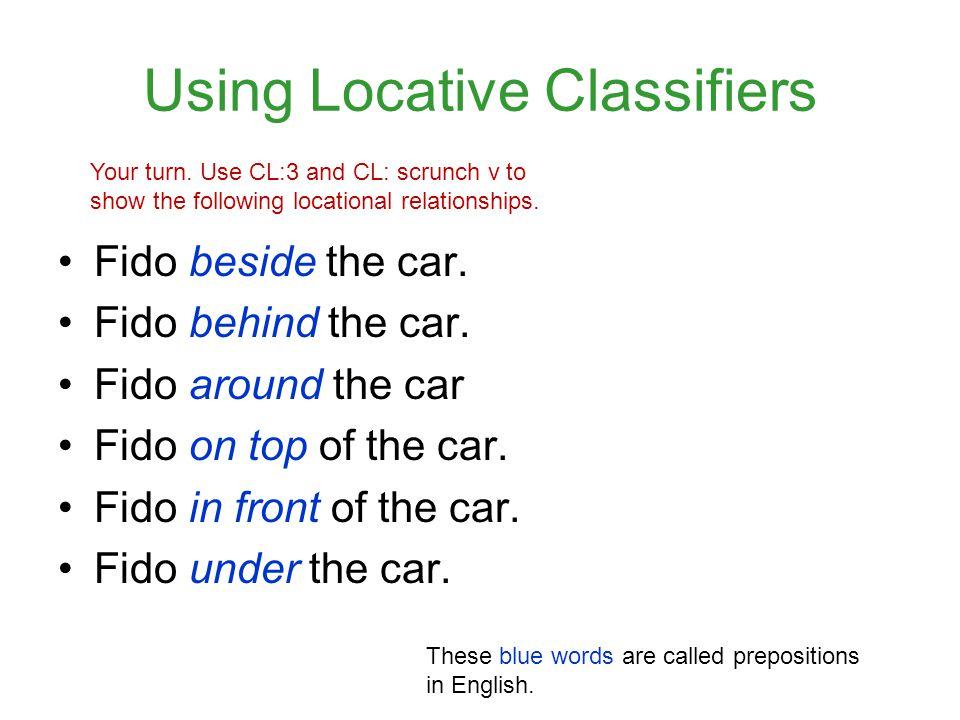 Using Locative Classifiers Fido beside the car.Fido behind the car.