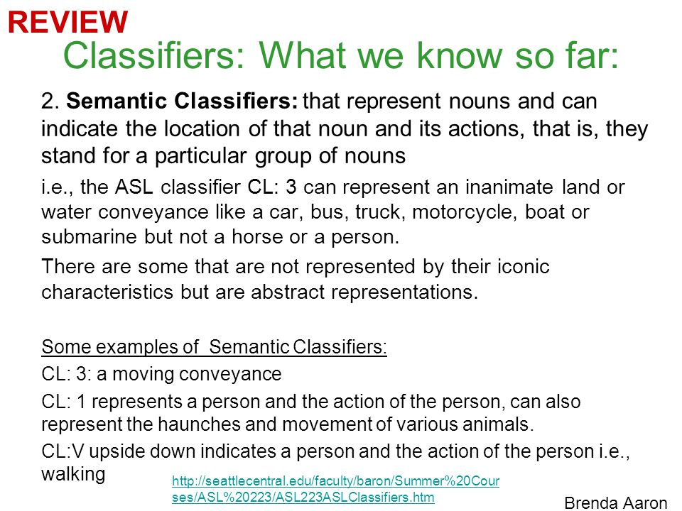Classifiers: What we know so far: 2.