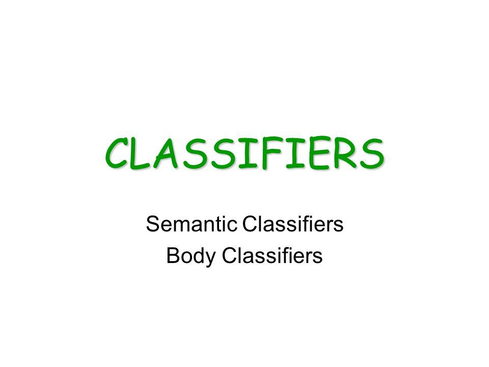 CLASSIFIERS Semantic Classifiers Body Classifiers