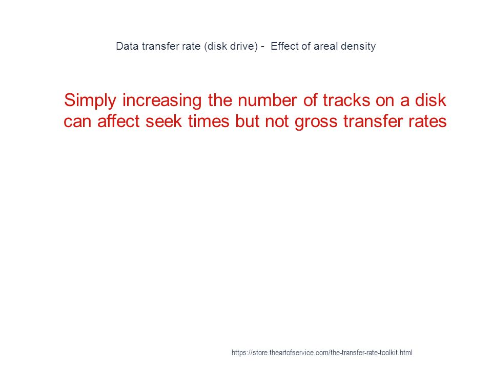 Data transfer rate (disk drive) - Effect of areal density 1 Simply increasing the number of tracks on a disk can affect seek times but not gross transfer rates https://store.theartofservice.com/the-transfer-rate-toolkit.html