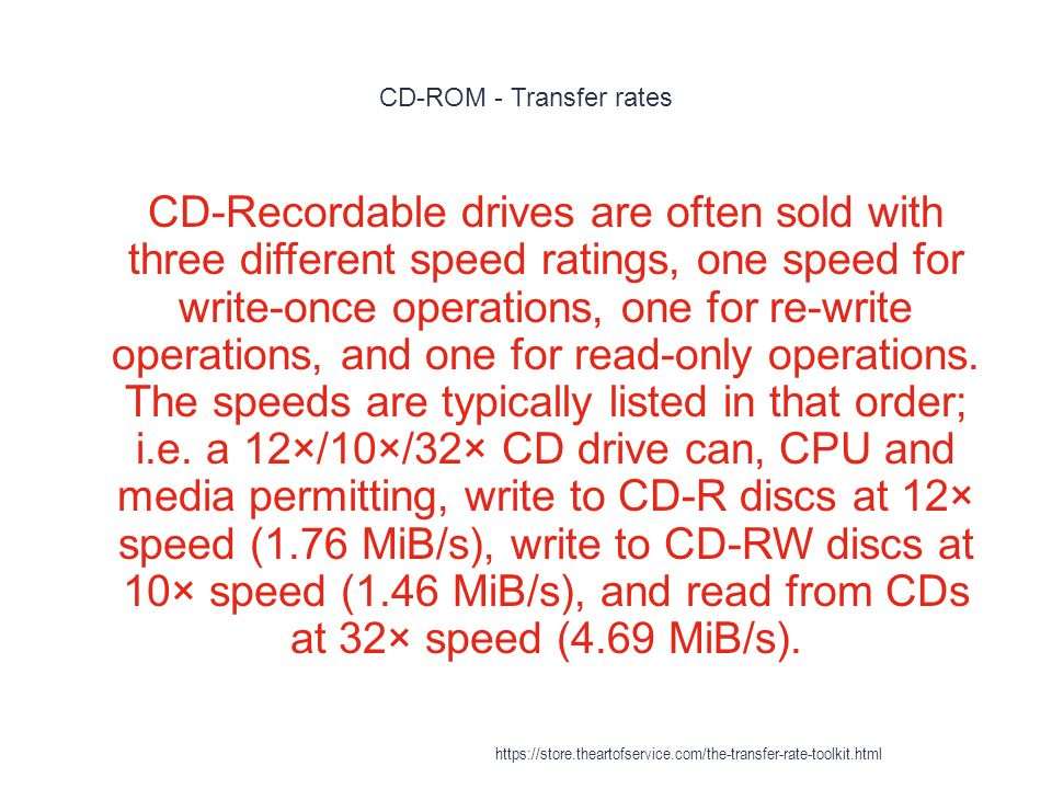 CD-ROM - Transfer rates 1 CD-Recordable drives are often sold with three different speed ratings, one speed for write-once operations, one for re-write operations, and one for read-only operations.
