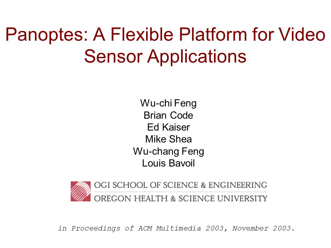 Panoptes: A Flexible Platform for Video Sensor Applications Wu-chi Feng Brian Code Ed Kaiser Mike Shea Wu-chang Feng Louis Bavoil in Proceedings of ACM Multimedia 2003, November 2003.