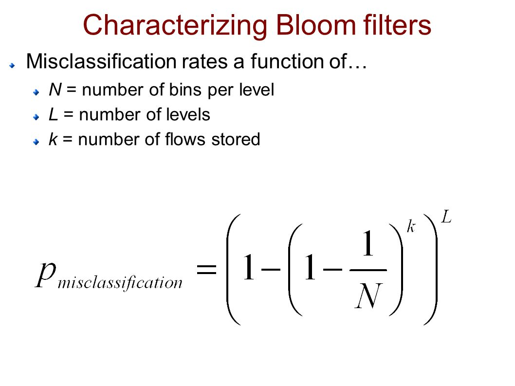 Characterizing Bloom filters Misclassification rates a function of… N = number of bins per level L = number of levels k = number of flows stored