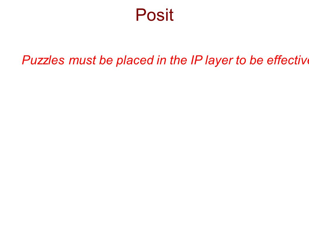 Posit Puzzles must be placed in the IP layer to be effective