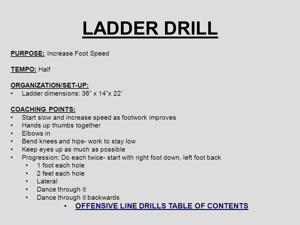 LADDER DRILL PURPOSE: Increase Foot Speed TEMPO: Half ORGANIZATION/SET-UP: Ladder dimensions: 36 x 14 x 22' COACHING POINTS: Start slow and increase speed as footwork improves Hands up thumbs together Elbows in Bend knees and hips- work to stay low Keep eyes up as much as possible Progression: Do each twice- start with right foot down, left foot back 1 foot each hole 2 feet each hole Lateral Dance through it Dance through it backwards OFFENSIVE LINE DRILLS TABLE OF CONTENTS
