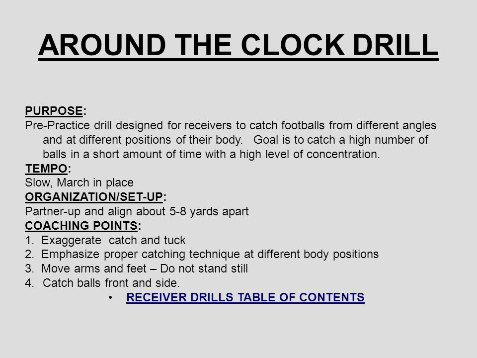 AROUND THE CLOCK DRILL PURPOSE: Pre-Practice drill designed for receivers to catch footballs from different angles and at different positions of their